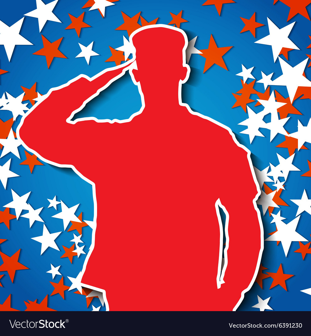 Saluting soldier silhouette on starry background vector image