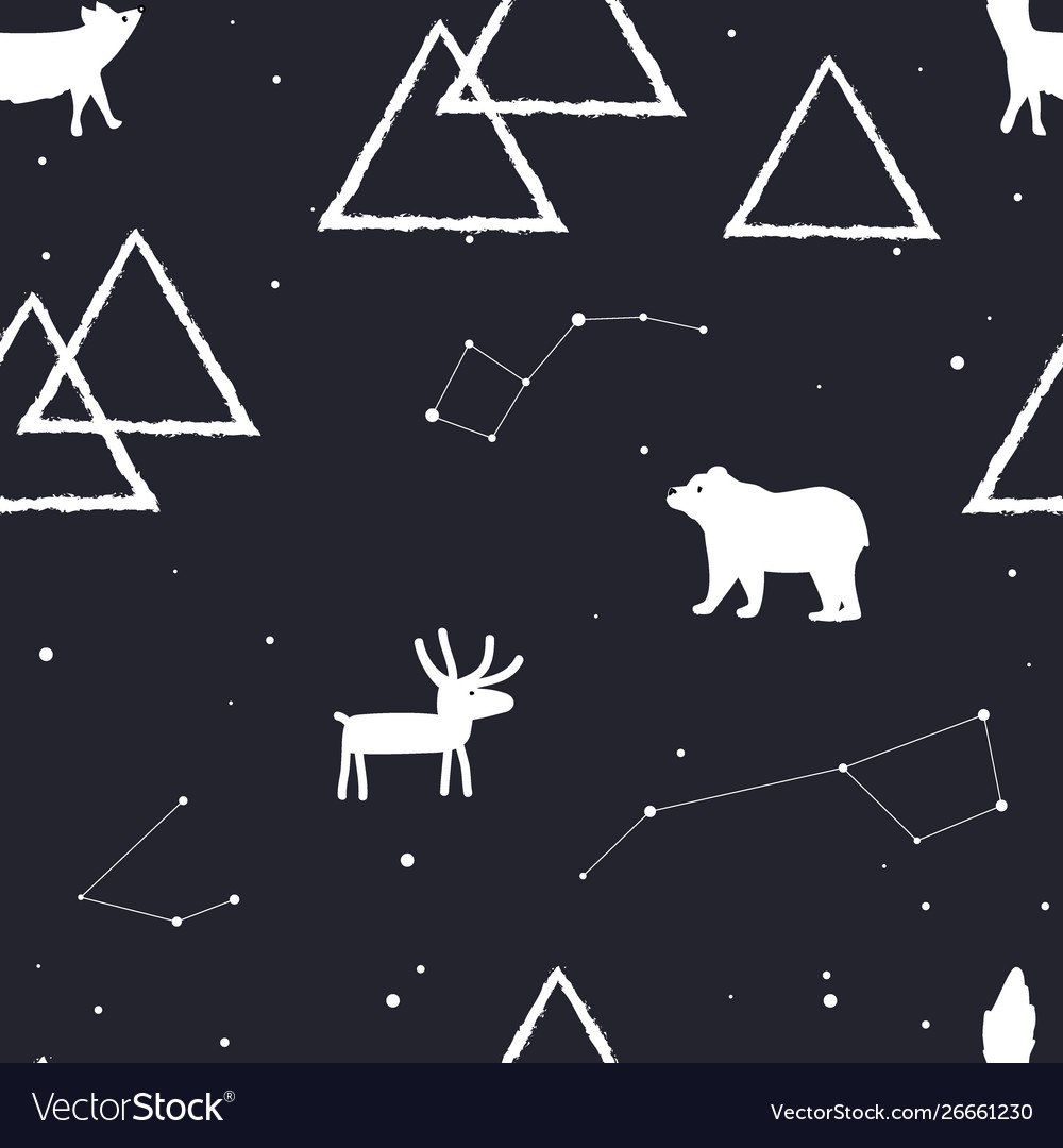 Seamless pattern with stars mountains and