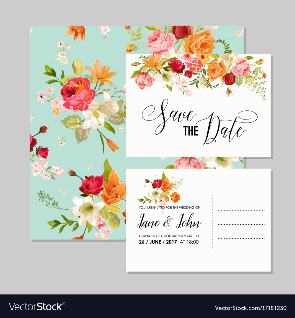 Set of wedding cards with lily flowers