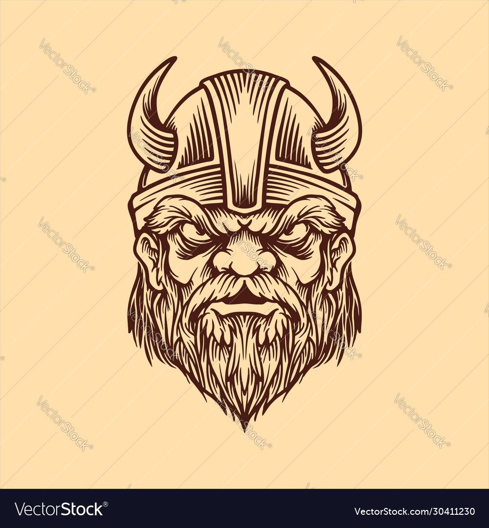 Viking head in vintage style