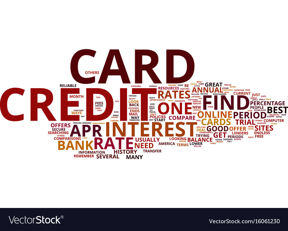 Zero percent credit cards text background word
