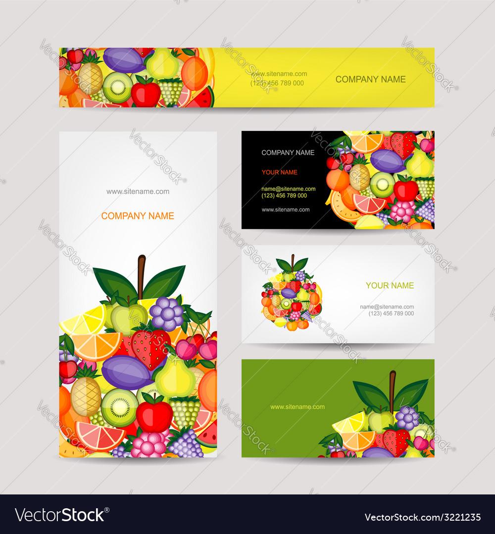 Business cards design fruit background vector image