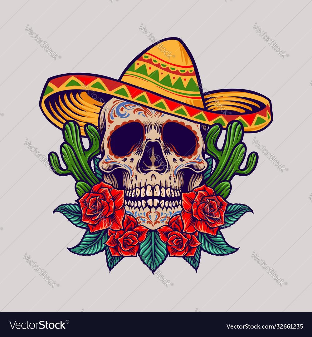 Cinco de mayo mexican skull logo mascot