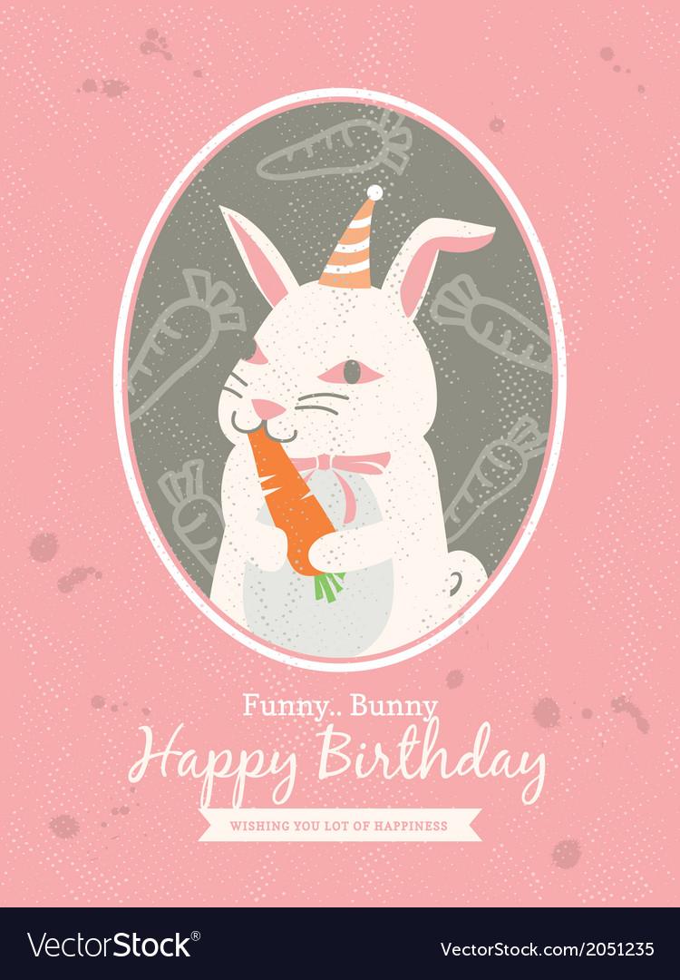 Cute Rabbit Animal Cartoon Birthday Card Design Vector Image