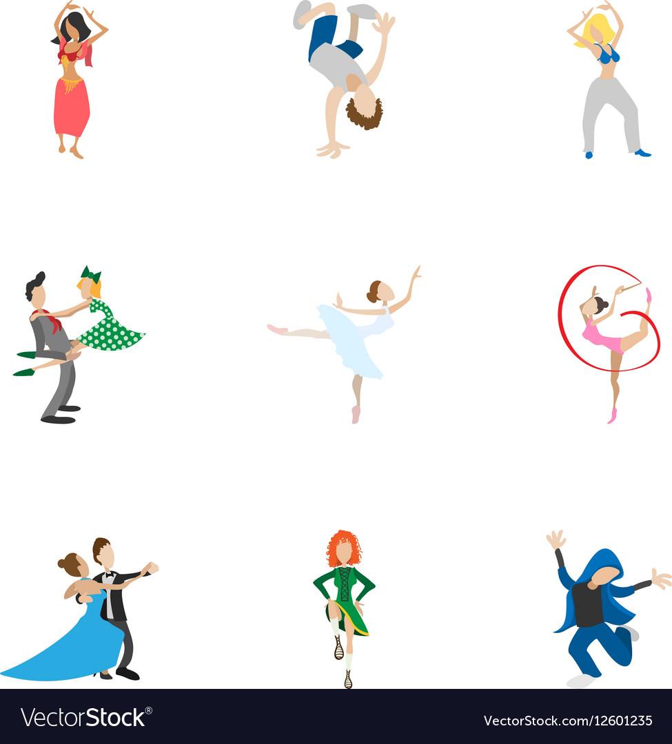 Dance styles icons set cartoon style vector image