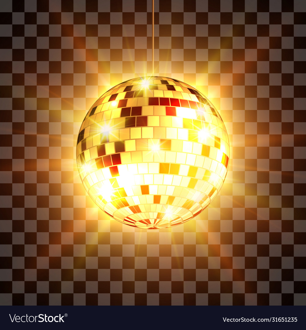 Golden disco ball with light rays isolated on