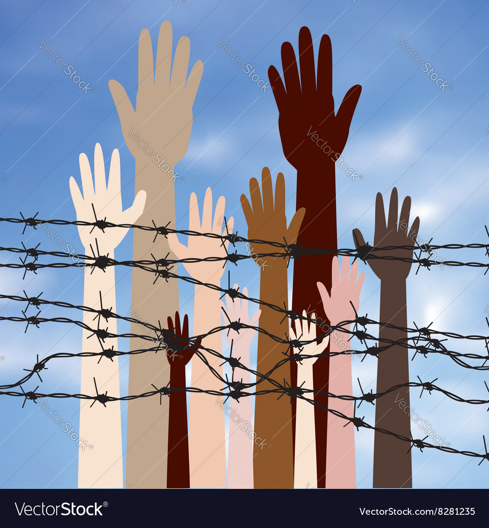 Hands Behind a Barbed Wire2