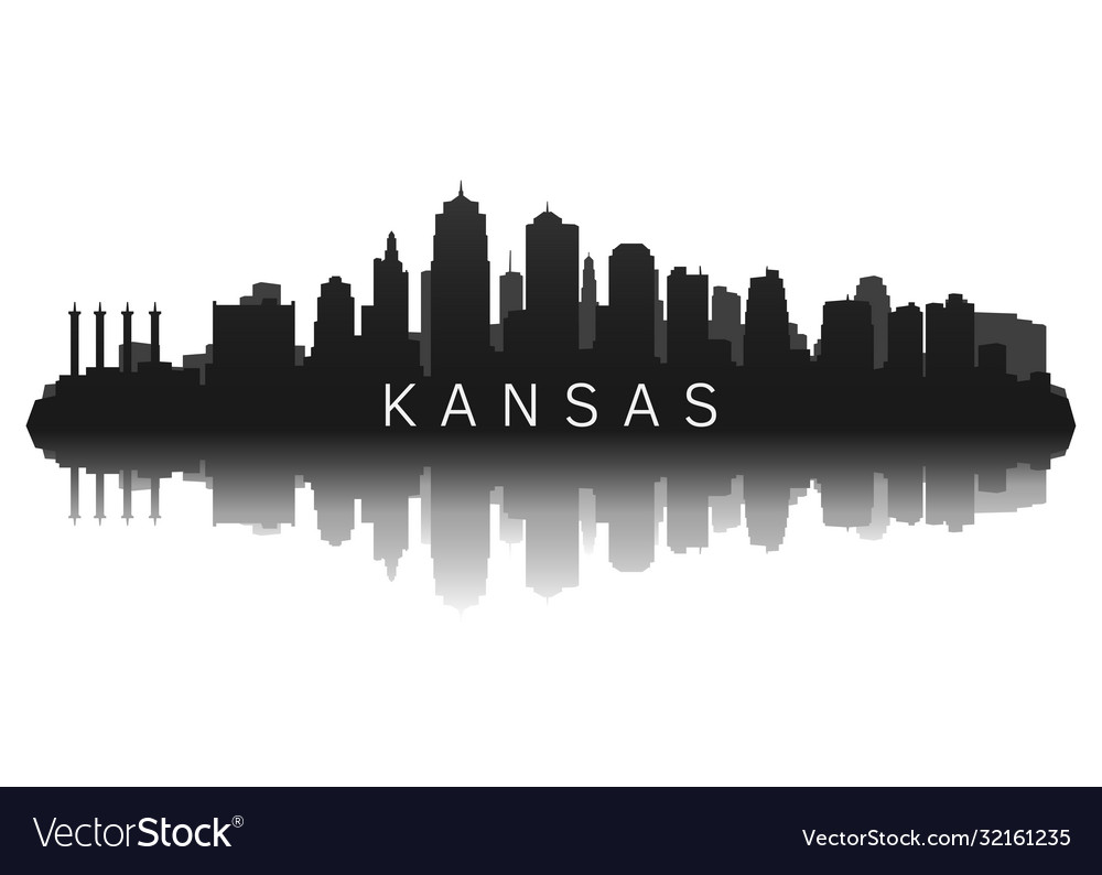 Kansas skyline in black with reflection