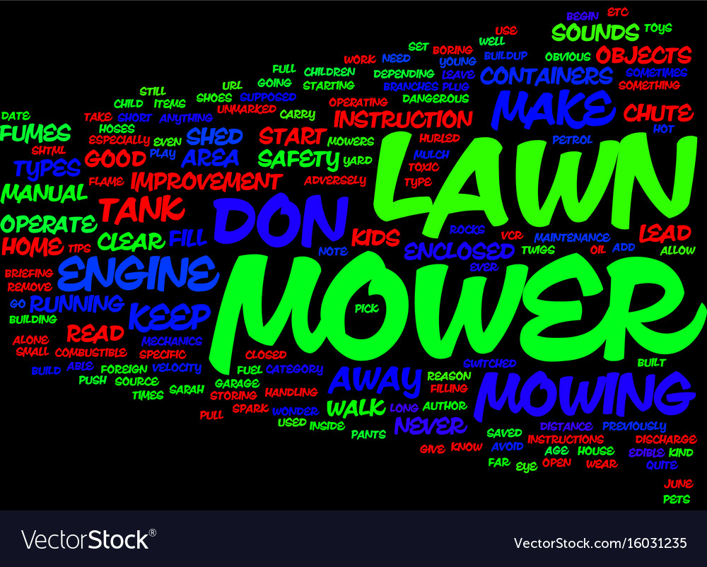 Lawn mower safety tips text background word cloud