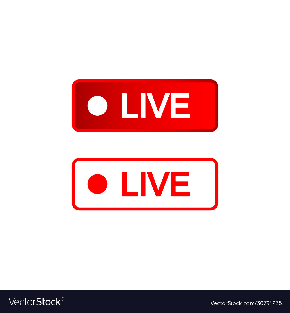 Live buttons red and white icon social media Vector Image