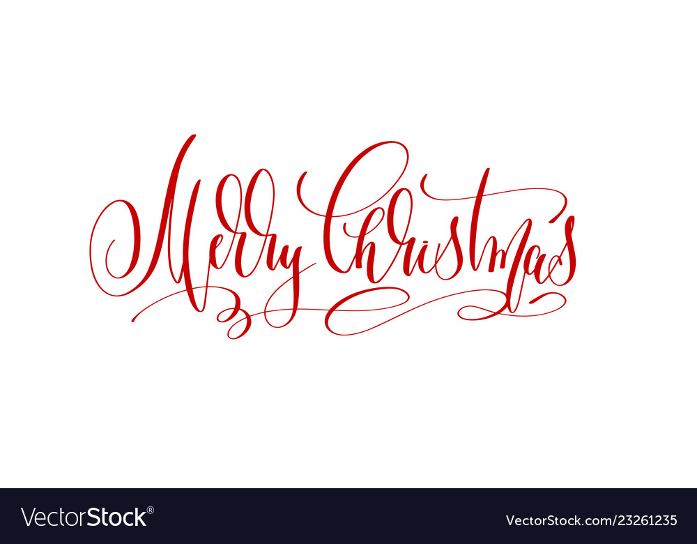 Merry christmas - red hand lettering inscription