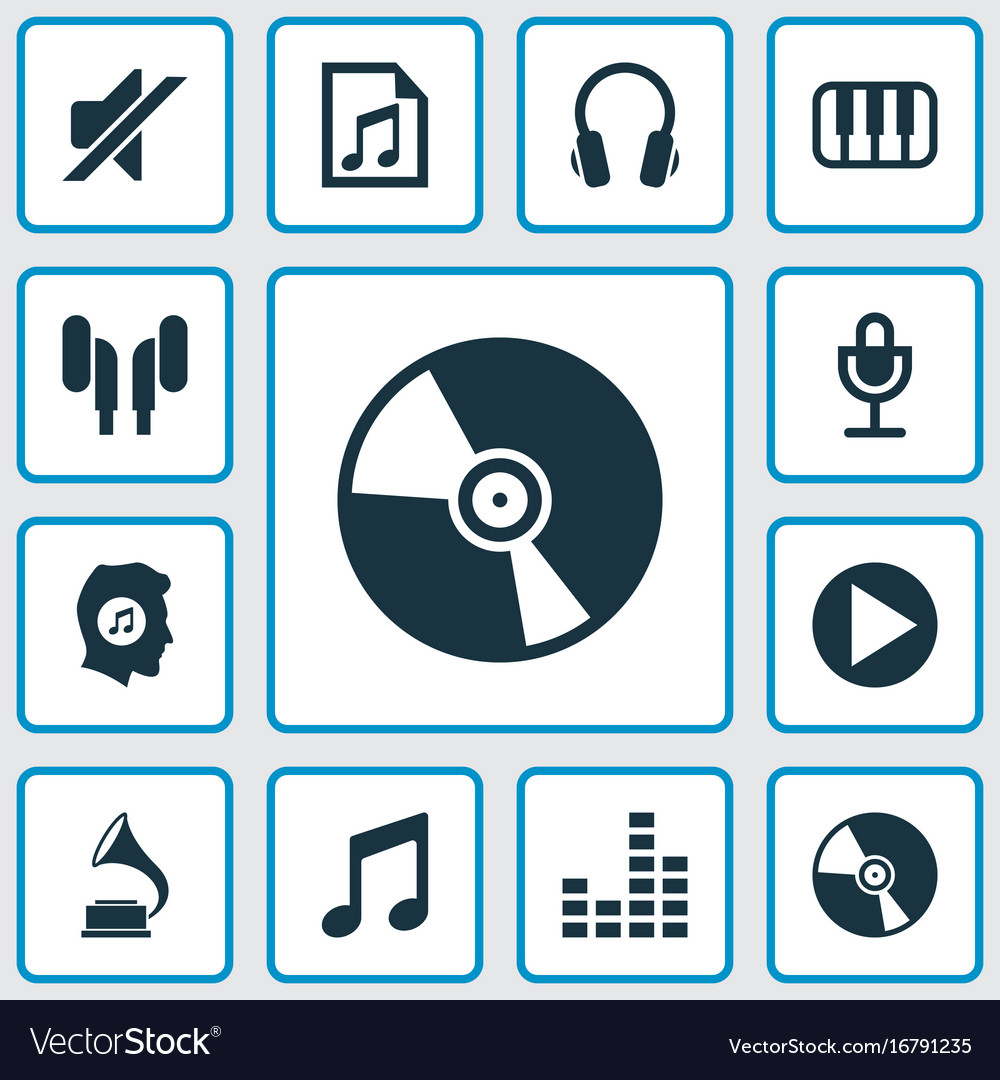 Music icons set collection of earphone octave