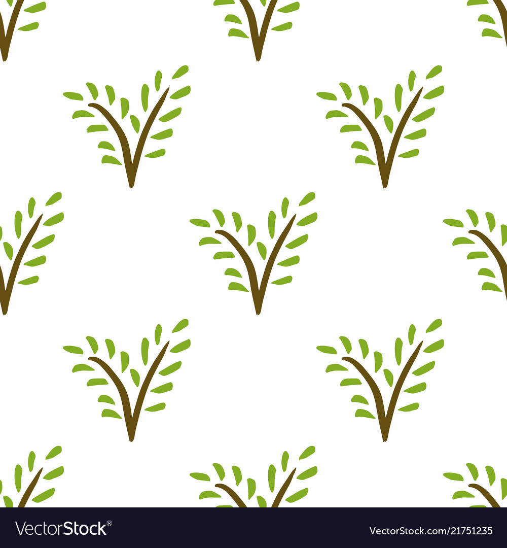 Seamless painted plant pattern hand drawn green