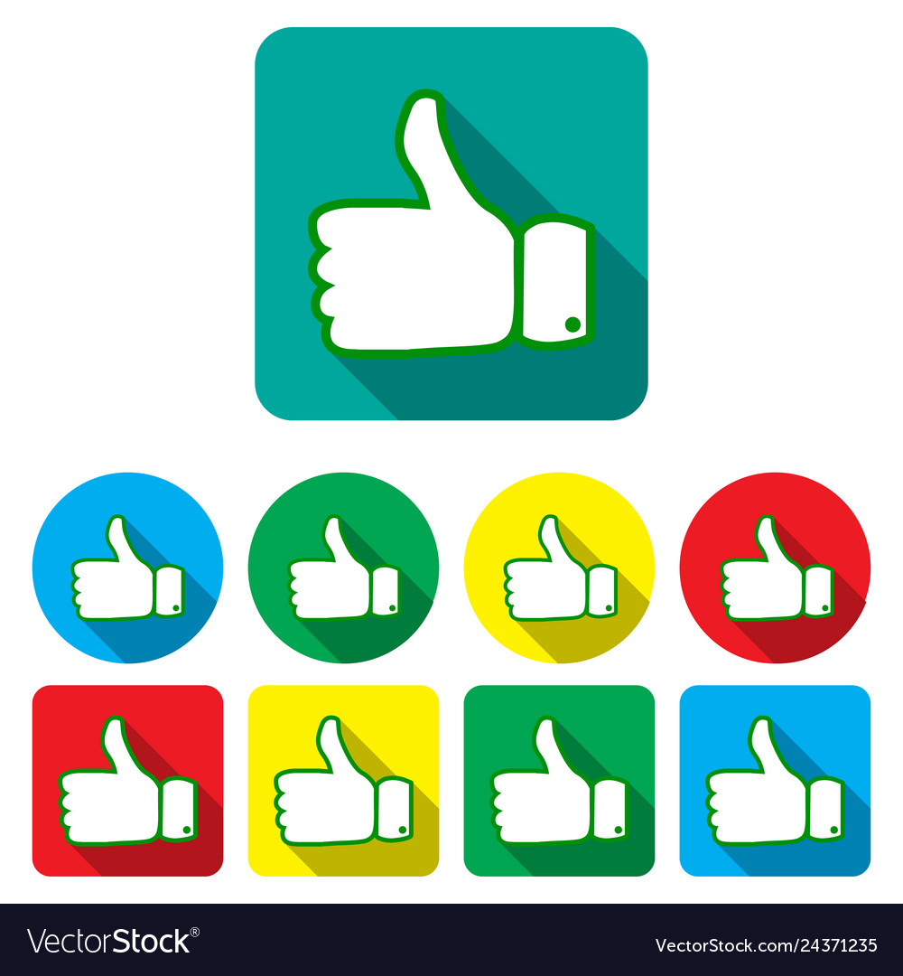Set thumbs up and down on different backgrounds