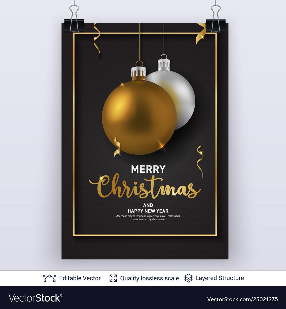 Silver golden christmas balls on dark background