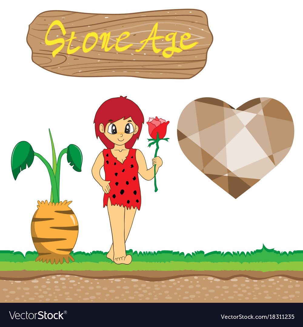 Stone age cartoon eps10 file vector image