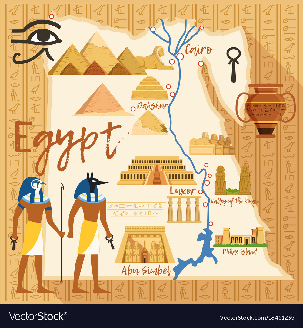 Stylized map of egypt with different cultural Vector Image