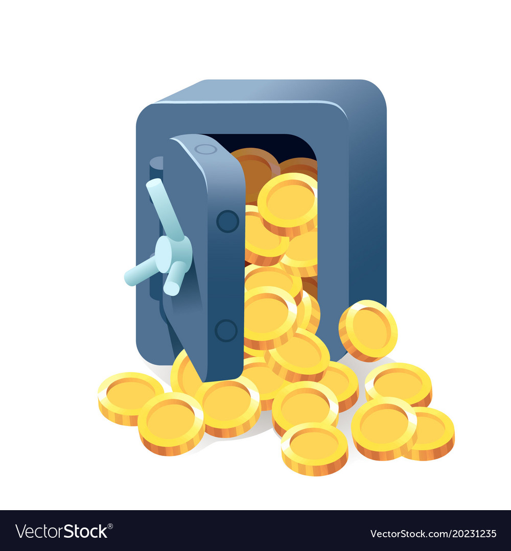Treasure of gold coins on transparent background