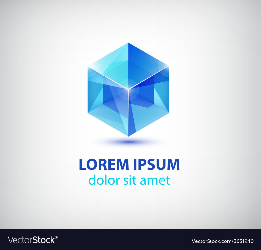 Abstract 3d cube construction logo