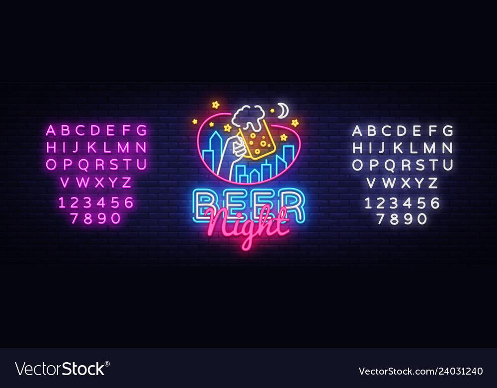 Beer neon sign beer night design template