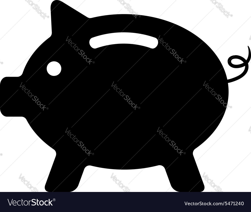 Black piggy bank isolated on white background