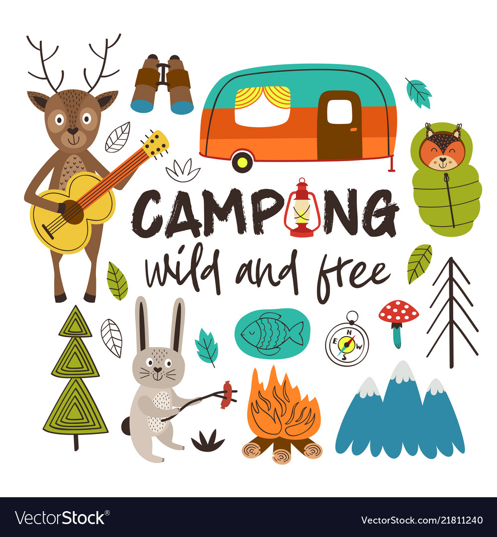 Camping with animals in the forest