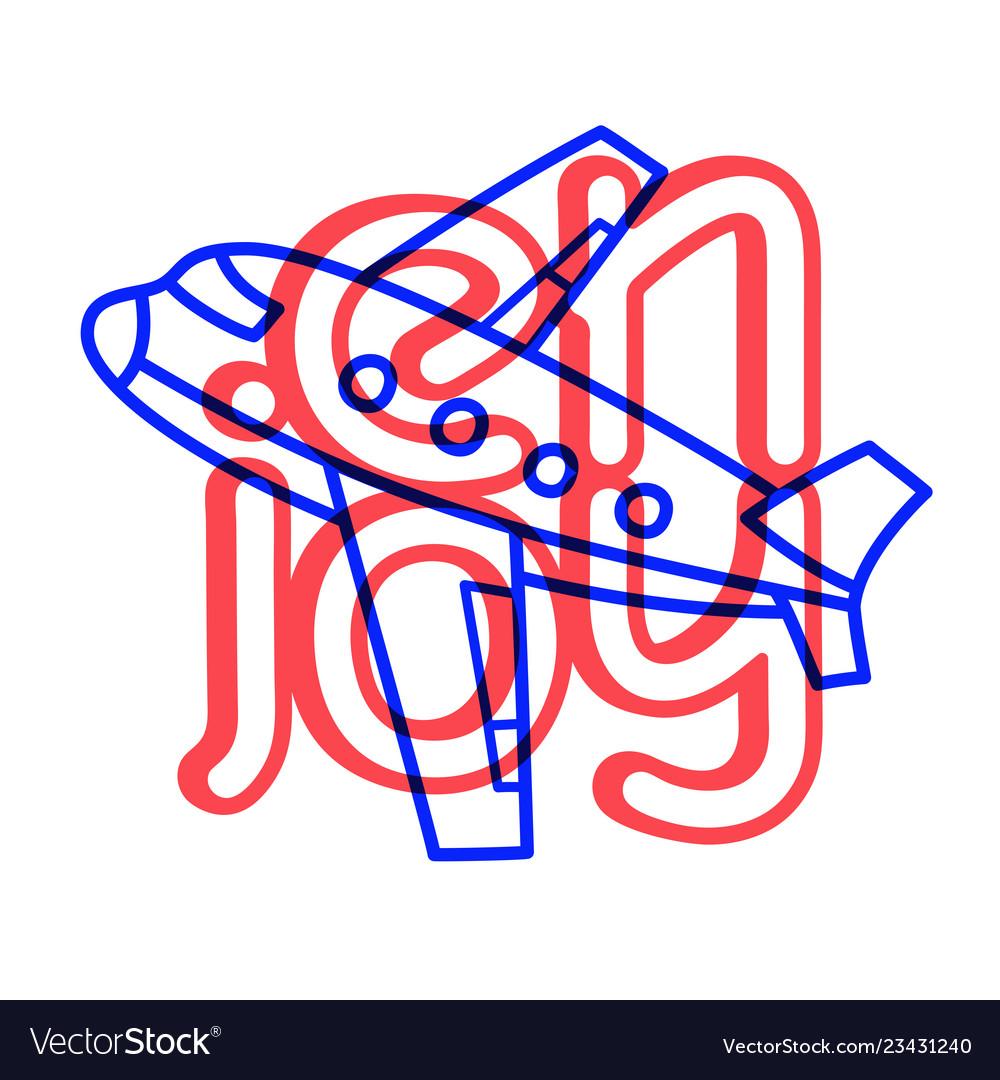 Cartoon travel plane doodle lettering enjoy for