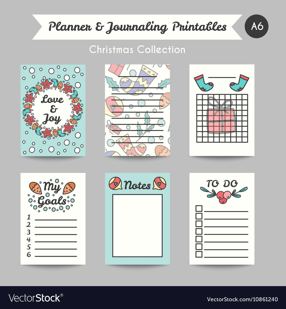 photograph about Printable Journaling Cards called Xmas Printable Journaling Playing cards Line Style and design