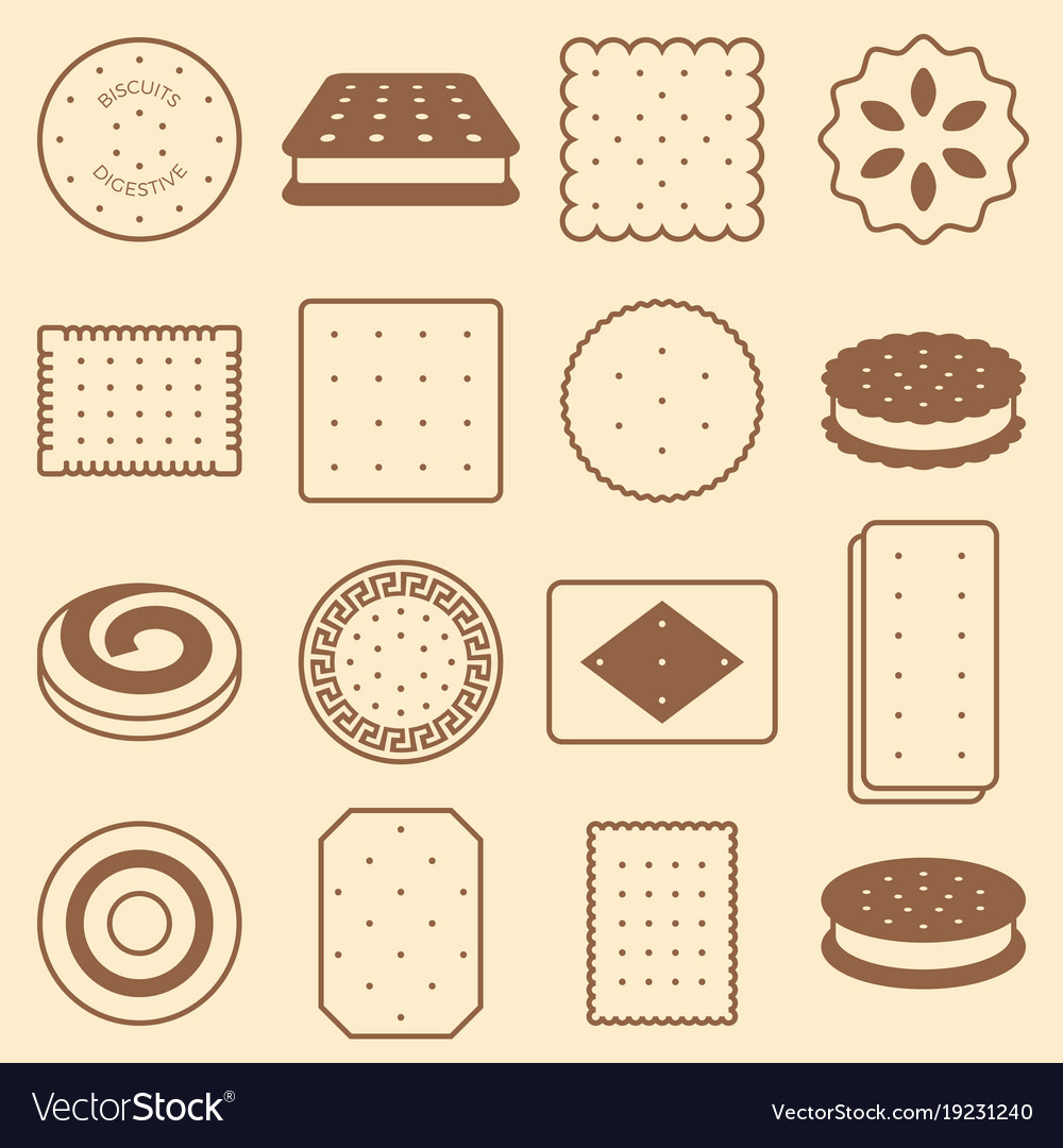 Cookie cracker and biscuit silhouette icon vector image
