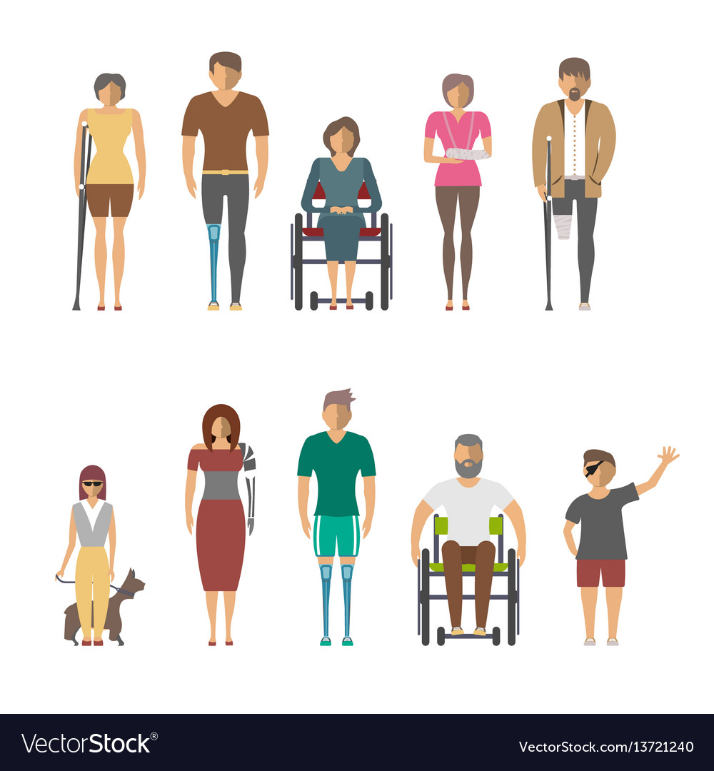 Disabled people isolated set in flat design