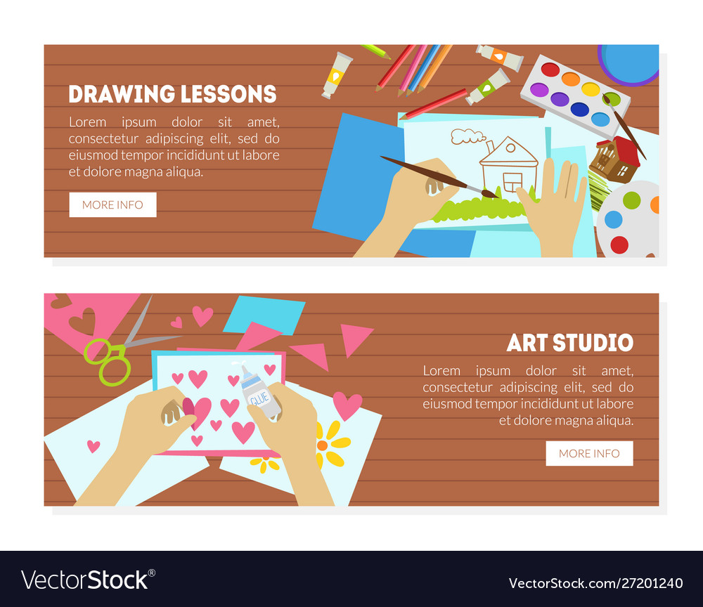 Drawing lessons art studio landing page creating