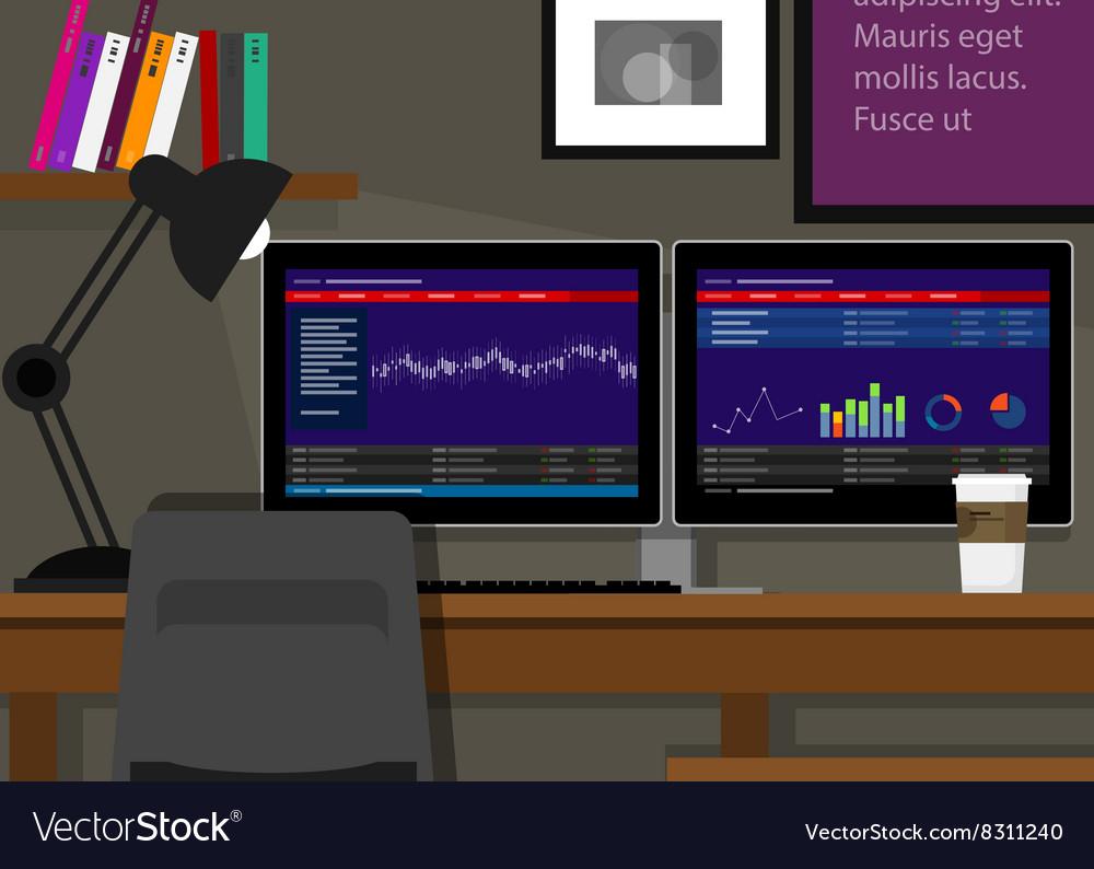 Dual two monitor stock transaction terminal desk