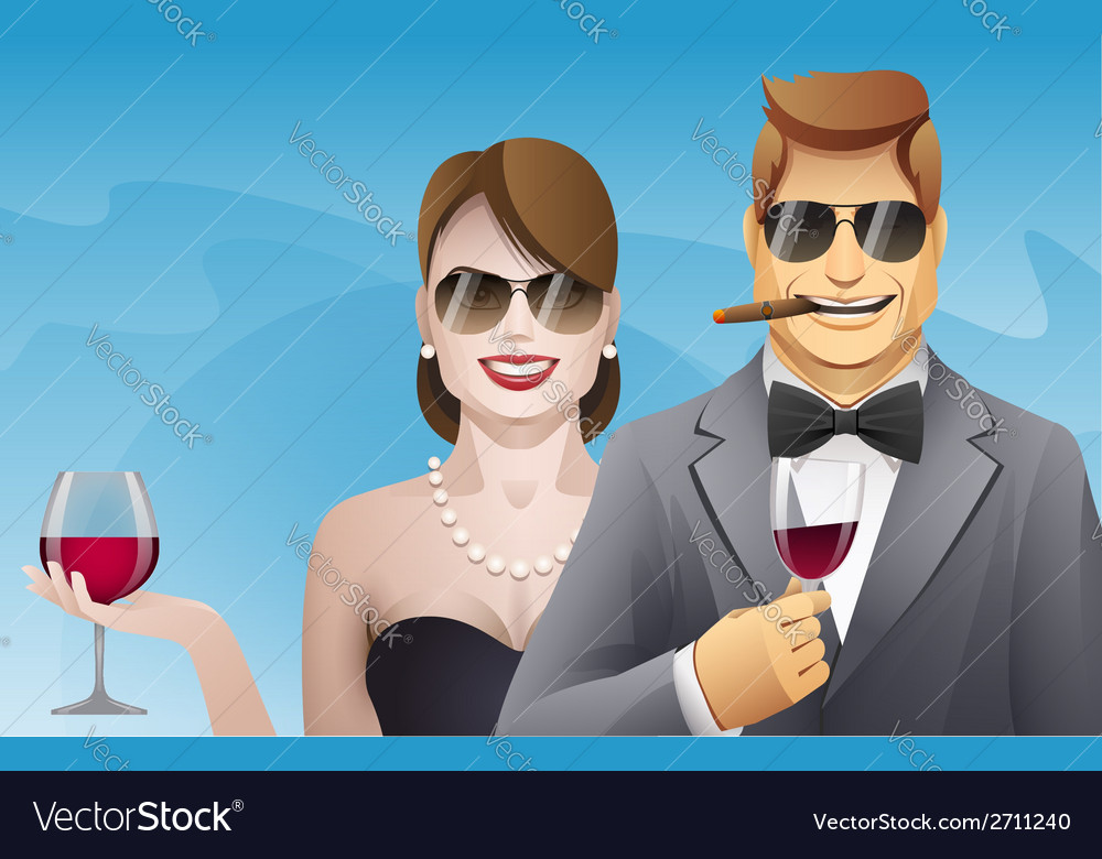 Elegance smiling man and woman with glasses of
