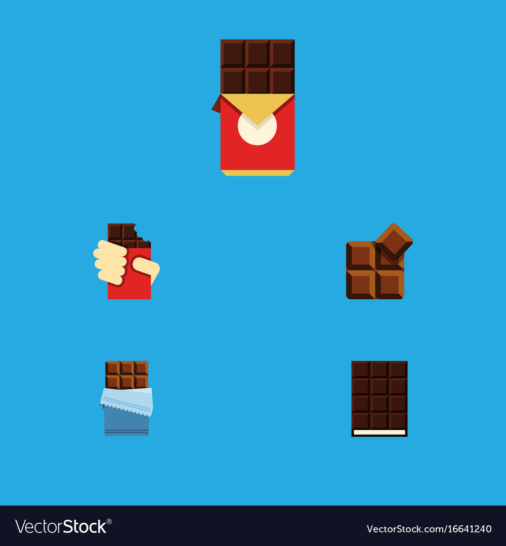 Flat icon chocolate set of bitter dessert cocoa vector image