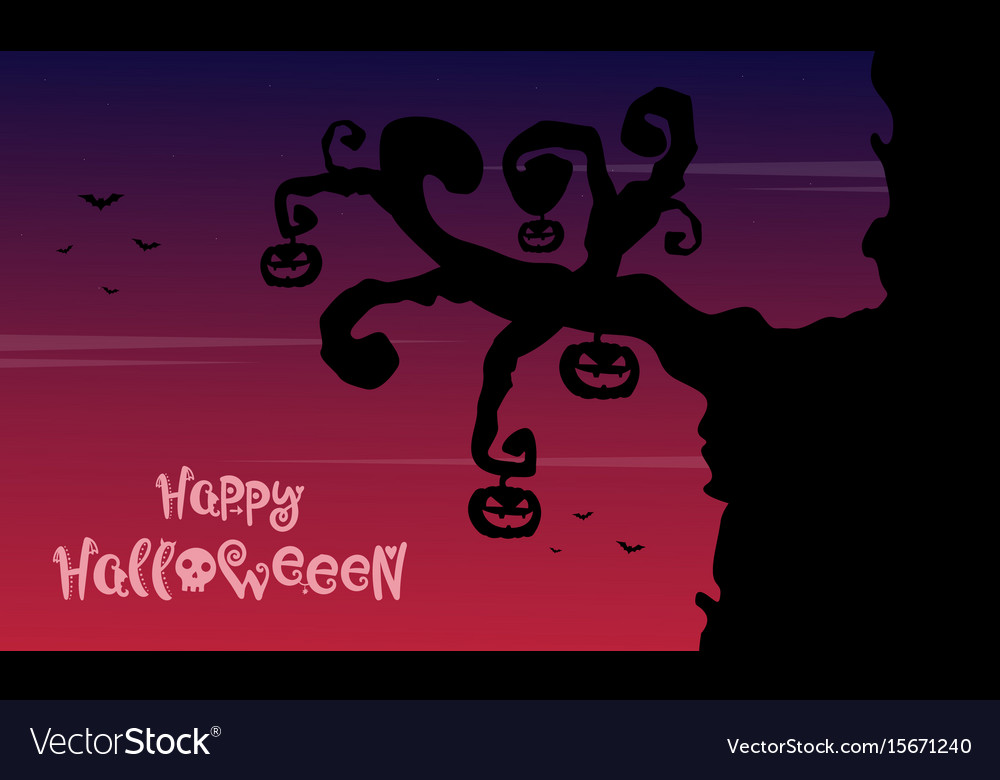 Halloween background wiith tree pumpkin vector image
