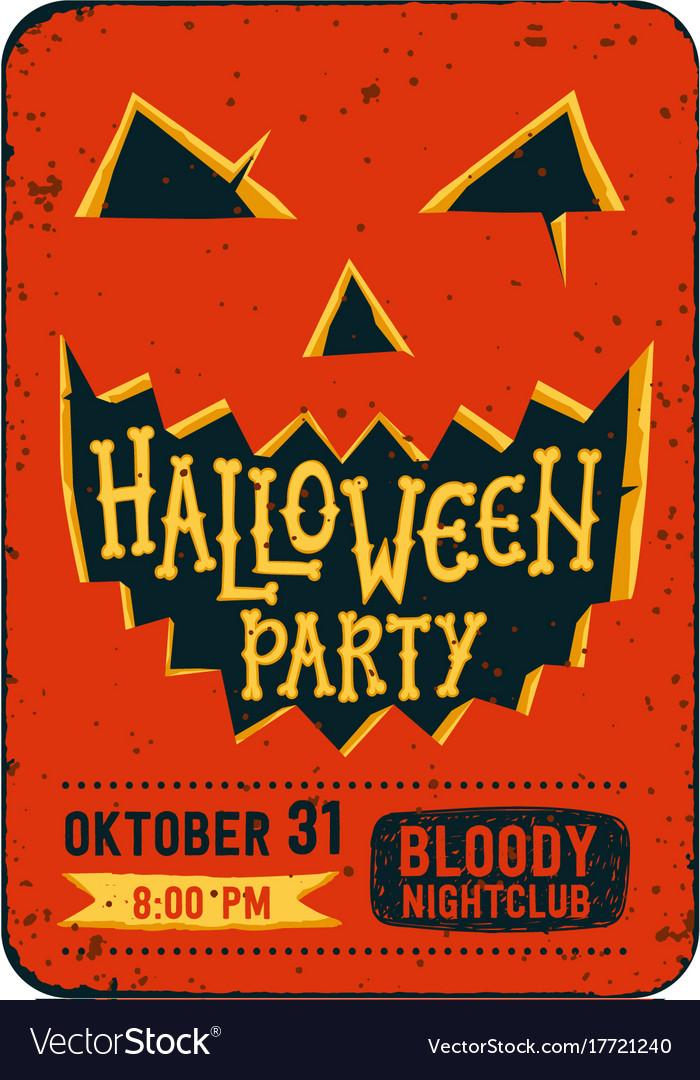 halloween party invitation card halloween pumpkin vector image