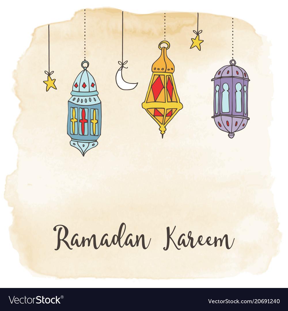 Hand drawn hanging arabic lanterns moon and stars