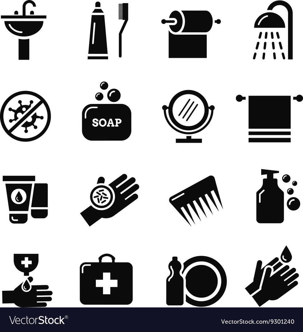 Hygiene bacteria virus protection icons