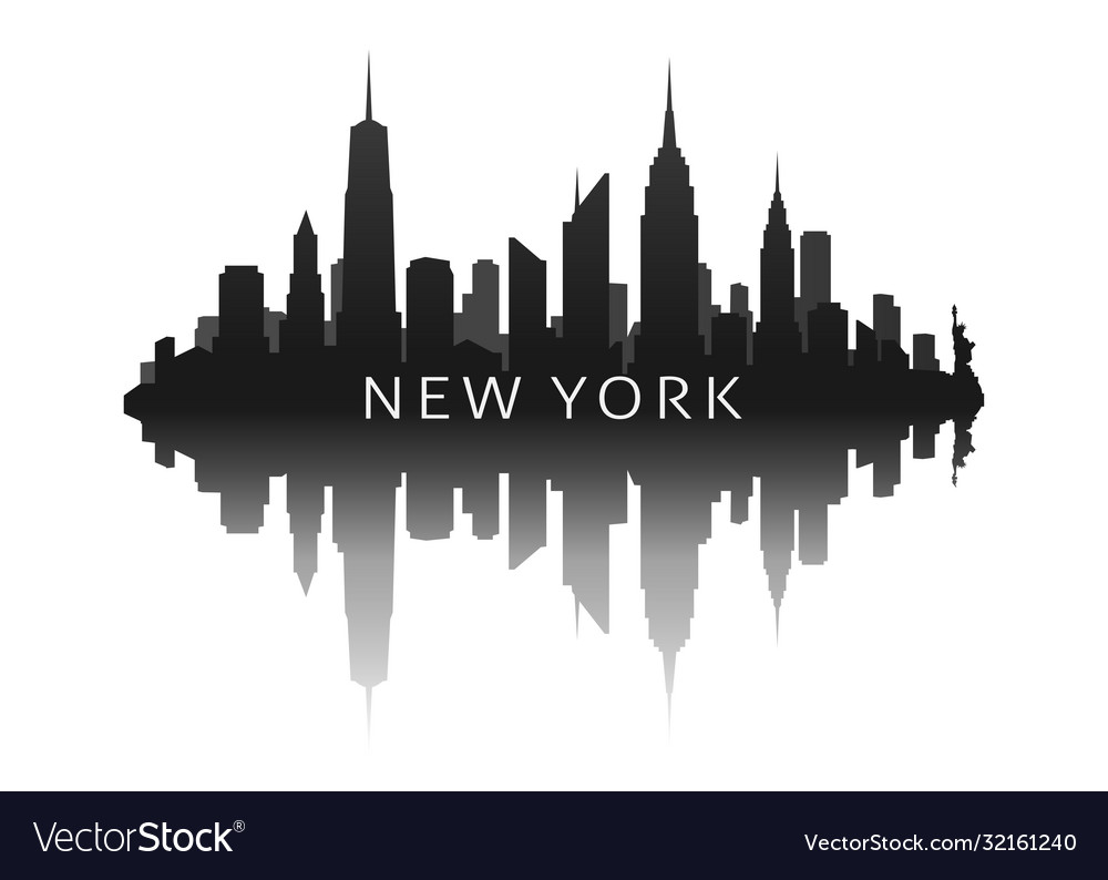 New york skyline in black with reflection