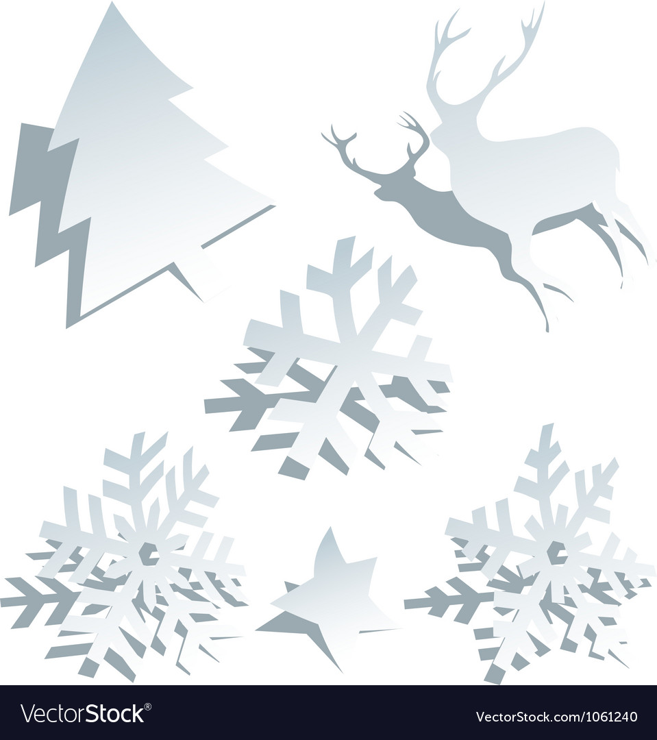 Paper Christmas tree snowflakes and deer vector image