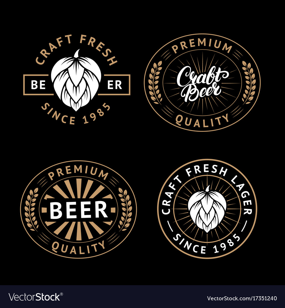 Set of beer labels in retro style vintage