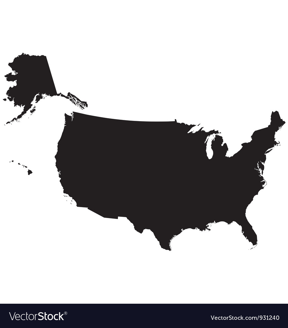 Silhouette map of the United States Of America