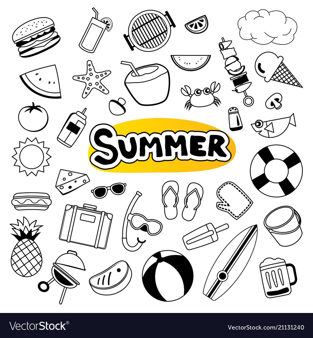 Summer objects set sticker icon in doodle design