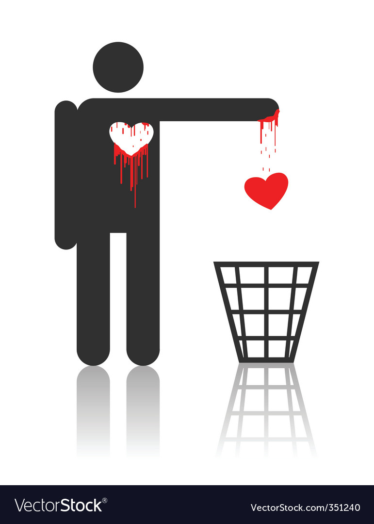 Vector character with bloody heart