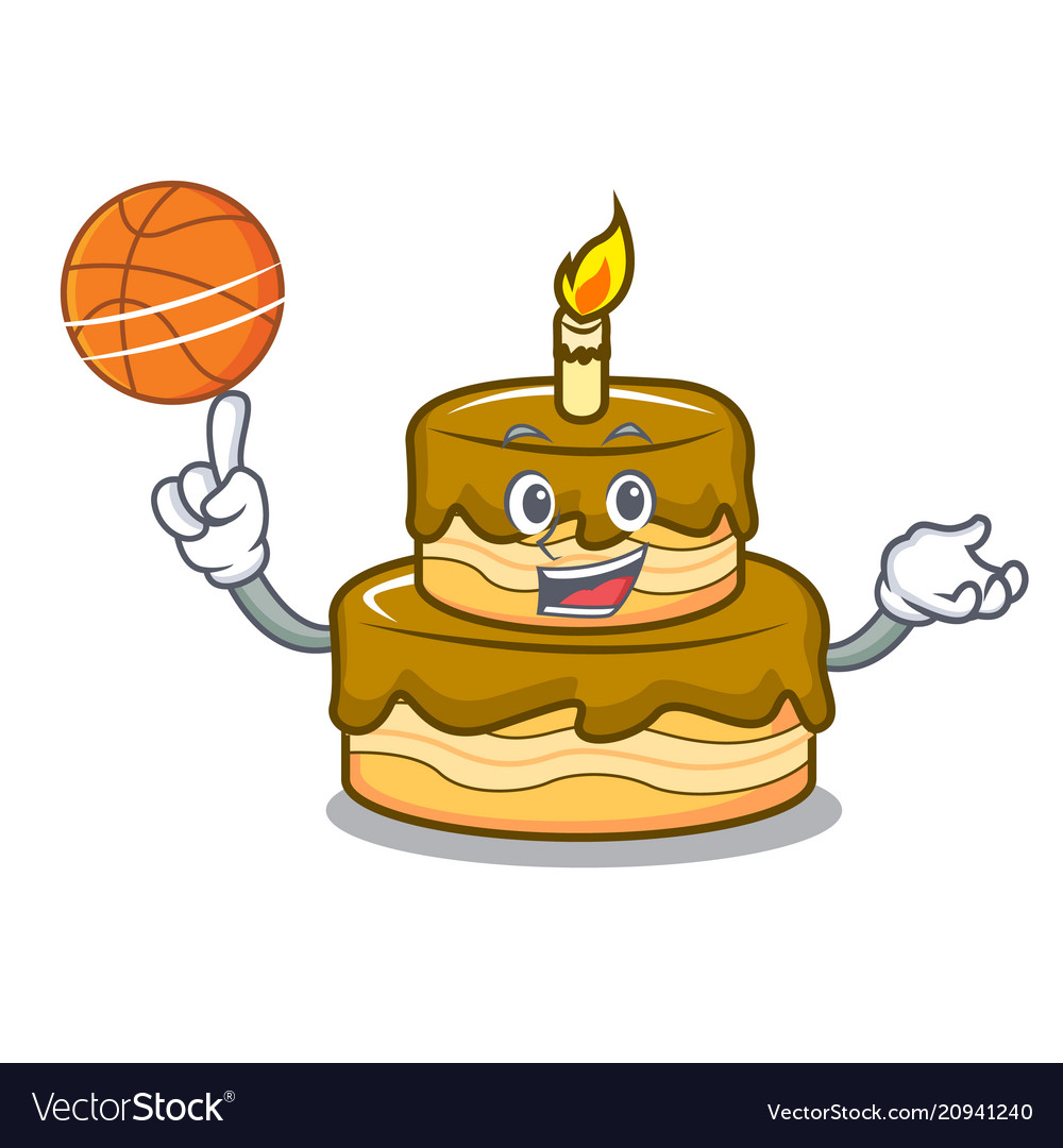 With Basketball Birthday Cake Character Cartoon Vector Image