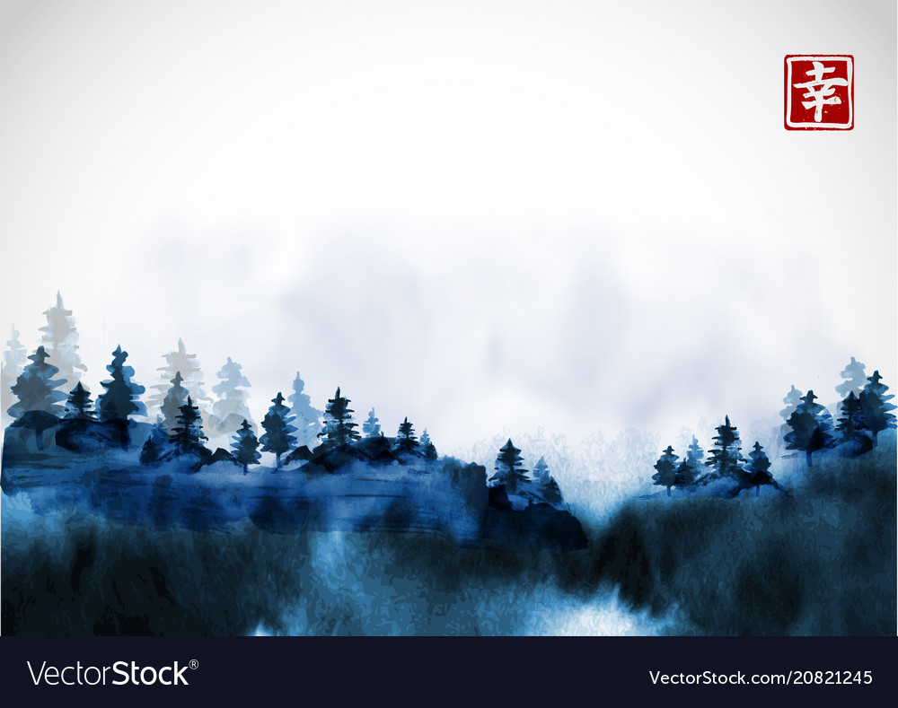 Blue pine trees in fog hand drawn with ink