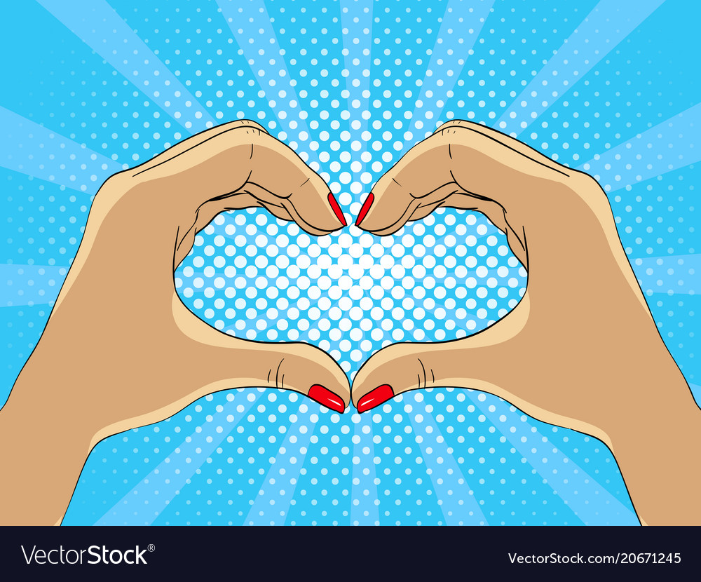 Hands making hart form in pop art style vector image