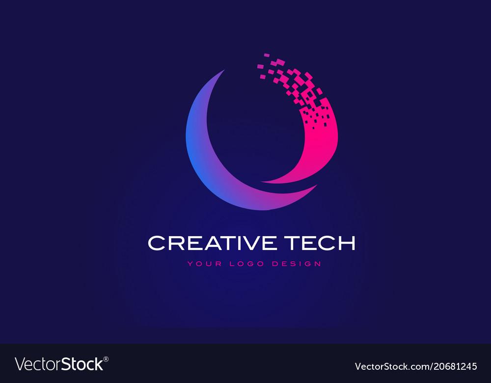 O initial letter logo design with digital pixels vector image