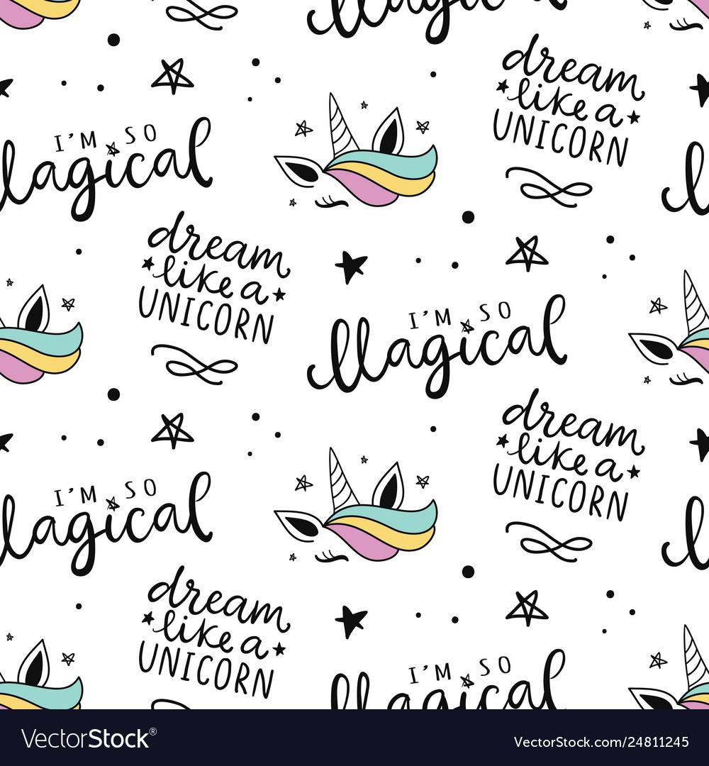 Seamless unicorn pattern magical background