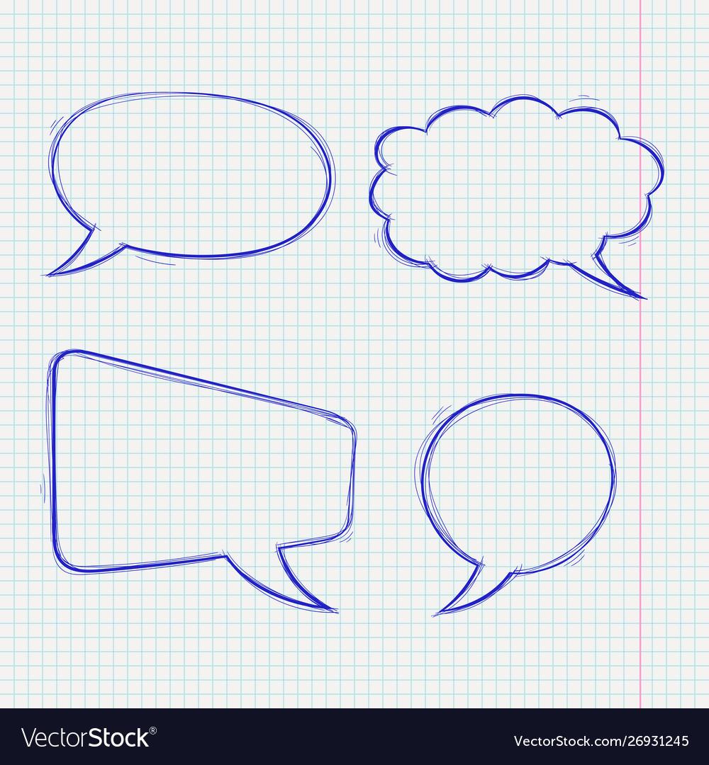 Speech bubbles doodle style blue hand drawn